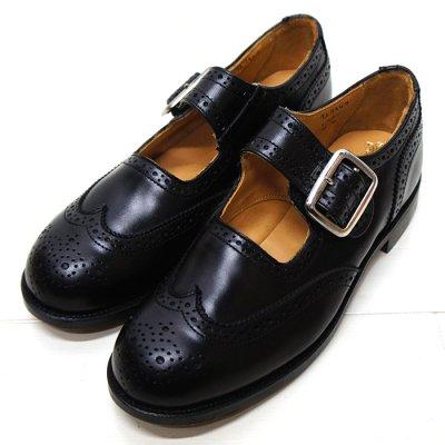 画像1: Tricker's(トリッカーズ)Mary Jane Brogue Shoes(メリージェーン ブローグシューズ)レザーソール/Black Box Calf(ブラックボックスカーフ)