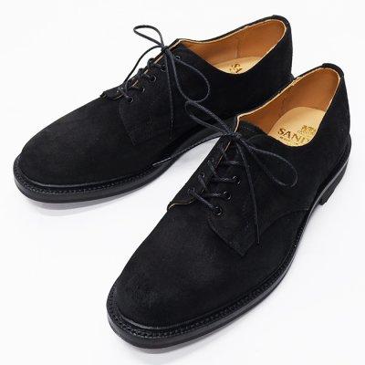 画像1: SANDERS(サンダース)Plain Toe Shoe(プレーントゥシューズ)/Black Waxy Suede(ブラックワクシースエード)