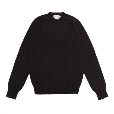 """画像1: INVERALLAN(インバーアラン)Crew Neck Saddle Shoulder Sweater(クルーネックサドルショルダーセーター)""""Voe True Shetland""""/Black(ブラック)"""