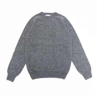画像1: INVERALLAN(インバーアラン)Crew Neck Saddle Shoulder Sweater(クルーネックサドルショルダーセーター)/Medium Grey(ミディアムグレー)
