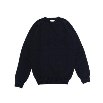 画像1: INVERALLAN(インバーアラン)Crew Neck Saddle Shoulder Sweater(クルーネックサドルショルダーセーター)/Black(ブラック)