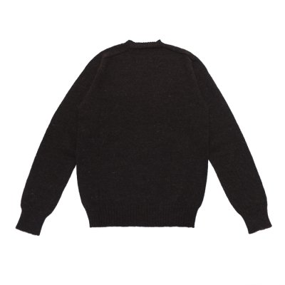 """画像2: INVERALLAN(インバーアラン)Crew Neck Saddle Shoulder Sweater(クルーネックサドルショルダーセーター)""""Voe True Shetland""""/Black(ブラック)"""