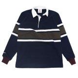 BARBARIAN(バーバリアン)クラシック ラガーシャツ(CENTER STRIPES)/Navy×Ivory×Moss(ネイビー×アイボリー×モスグリーン)※Exclusive