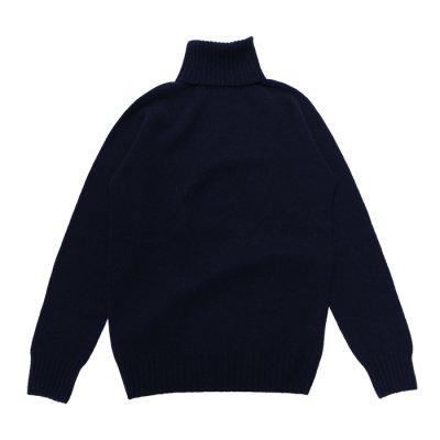 画像1: INVERALLAN(インバーアラン)Roll Neck Saddle Shoulder Sweater(タートルネックサドルショルダーセーター)/Nero Navy(ダークネイビー)