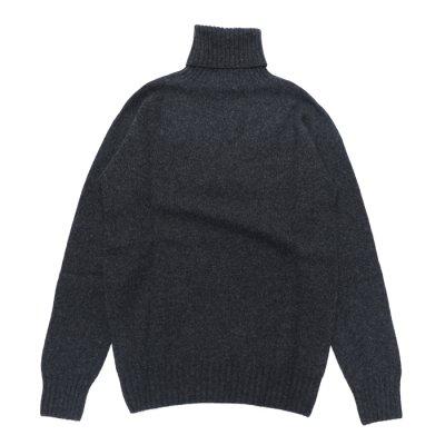 画像2: INVERALLAN(インバーアラン)Roll Neck Saddle Shoulder Sweater(タートルネックサドルショルダーセーター)/Charcoal(チャコールグレー)