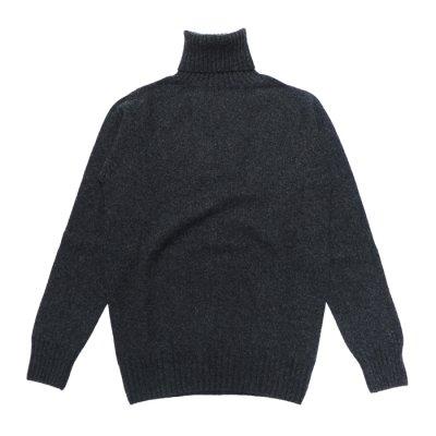 画像1: INVERALLAN(インバーアラン)Roll Neck Saddle Shoulder Sweater(タートルネックサドルショルダーセーター)/Charcoal(チャコールグレー)