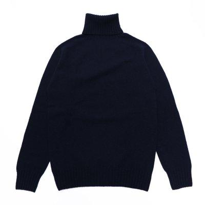 画像2: INVERALLAN(インバーアラン)Roll Neck Saddle Shoulder Sweater(タートルネックサドルショルダーセーター)/Nero Navy(ダークネイビー)