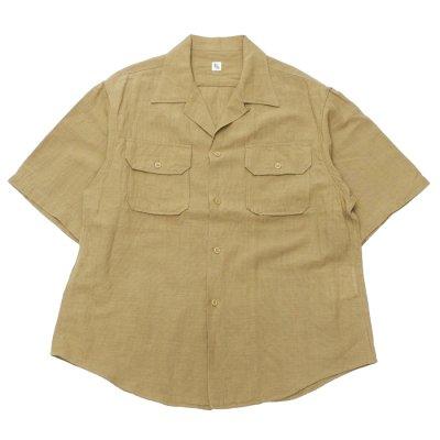 画像1: KAPTAIN SUNSHINE(キャプテンサンシャイン)Open Collar SS Shirt(オープンカラーショートスリーブシャツ)COTTON LINEN SILK SAFARI MESH/Khaki(カーキ)