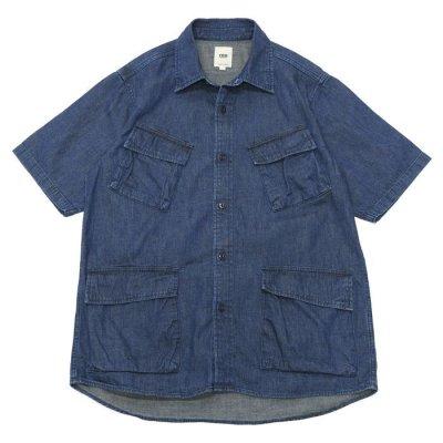 画像1: F.O.B FACTORY(エフオービーファクトリー)DENIM FATIGUE SHORT SLEEVE SHIRT(デニムファティーグショートスリーブシャツ)8oz Military Denim/Blue(ブルー)