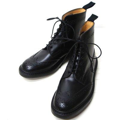 画像1: Tricker's(トリッカーズ)カントリー ブローグブーツ(ダイナイトソール)/Black  Box Calf(ブラックボックスカーフ)