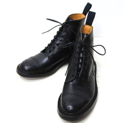 画像1: Tricker's(トリッカーズ)キャップトゥ ブローグブーツ(ダイナイトソール)/Black Box Calf(ブラックボックスカーフ)