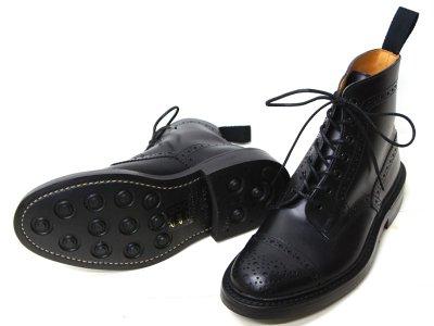 画像2: Tricker's(トリッカーズ)キャップトゥ ブローグブーツ(ダイナイトソール)/Black Box Calf(ブラックボックスカーフ)